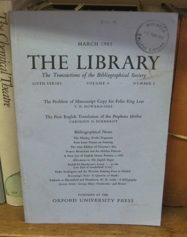Image for The Library: Transactions of the Bibliographical Society, Sixth Series, Volume 4, Number 1, March 1982