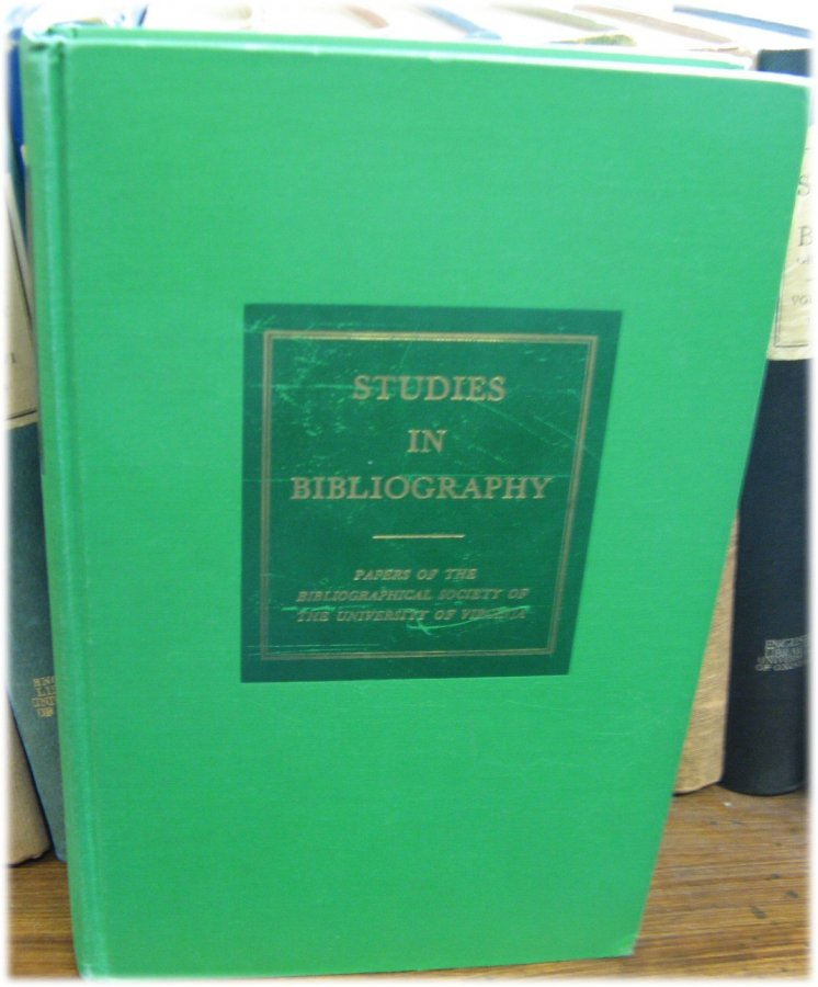 Image for Studies in Bibliography: Papers of the Bibliographical Society of the University of Virginia; Volume XXI, 1968
