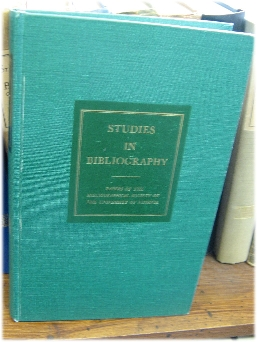 Image for Studies in Bibliography: Papers of the Bibliographical Society of the University of Virginia; Volume XXVI, 1973