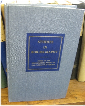 Image for Studies in Bibliography: Papers of the Bibliographical Society of the University of Virginia; Volume XXVII, 1974