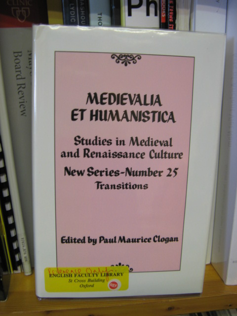 Image for Medievalia et Humanistica: Studies in Medieval & Renaissance Culture: New Series: Number 25: Transitions