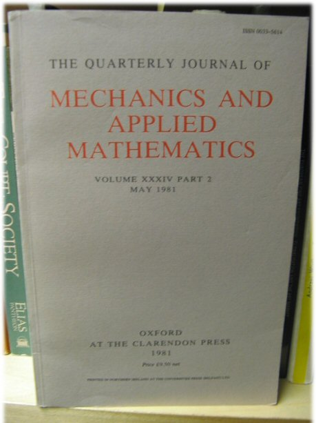 Image for The Quarterly Journal of Mechanics and Applied Mathematics: Volume XXXIV Part 2, May 1981