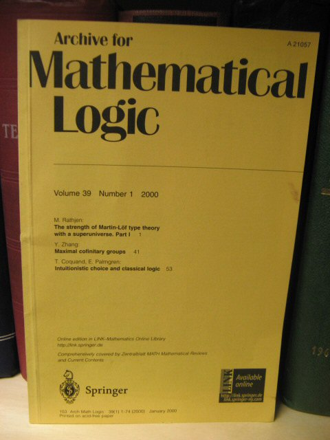 Image for Archive for Mathematical Logic: Volume 39, Number 1, 2000
