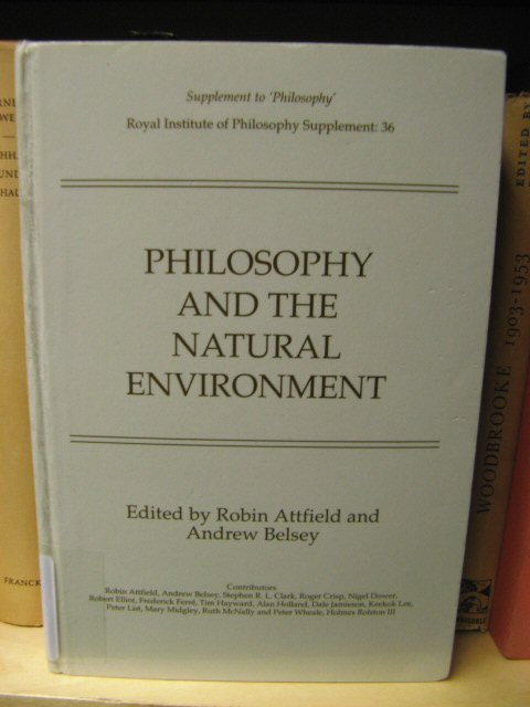Image for Philosophy and the Natural Environment (Royal Institute of Philosophy Supplement)