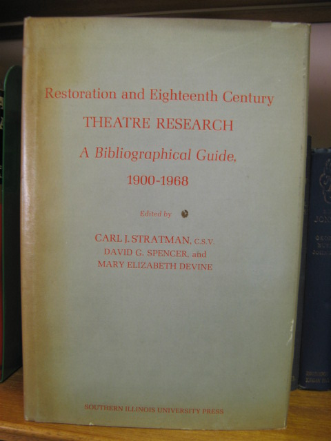 Image for Restoration and Eighteenth Century Theatre Research: A Bibliographical Guide, 1900-1968