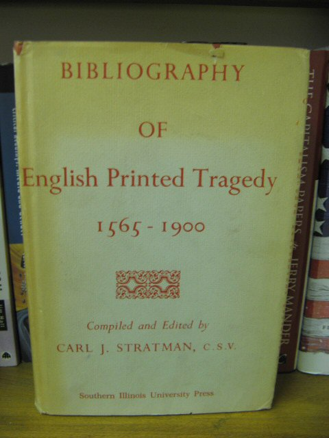 Image for Bibliography of English Printed Tragedy 1565-1900