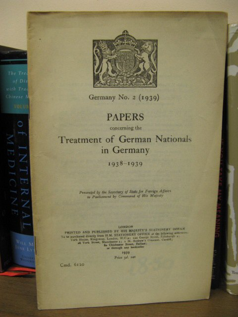 Image for Papers Concerning the Treatment of German Nationals in Germany 1938-1939