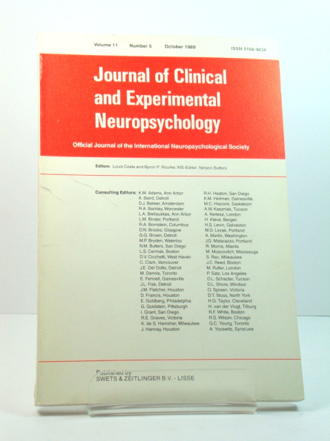 Image for Journal of Clinical and Experimental Neuropsychology: Volume 11, Number 5, October 1989
