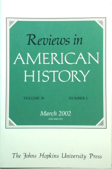 Image for Reviews in American History: Volume 30, Number 1, March 2002