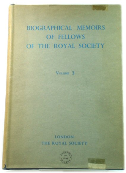 Image for Biographical Memoirs of Fellows of the Royal Society: Volume 3, 1957