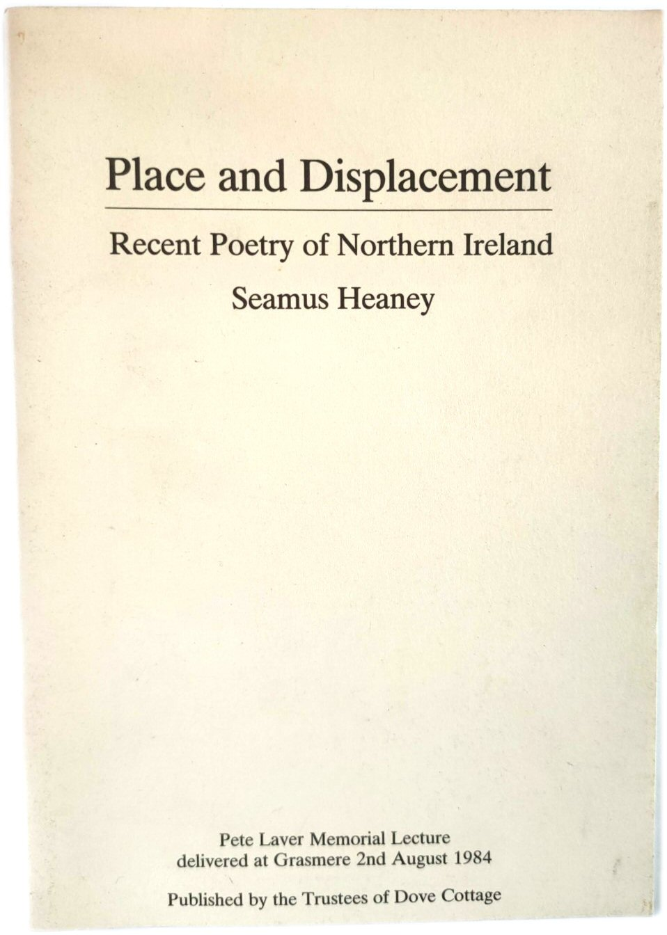 Image for Place and Displacement: Recenty Poetry of Northern Ireland